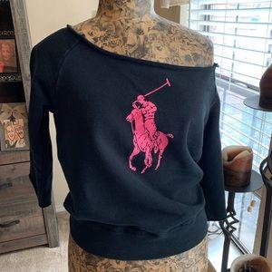 Ralph Lauren Pink Pony Off Shoulder Sweatshirt